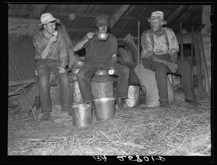 8.  Threshers stopping for a drink. Caledonia County, Vermont.