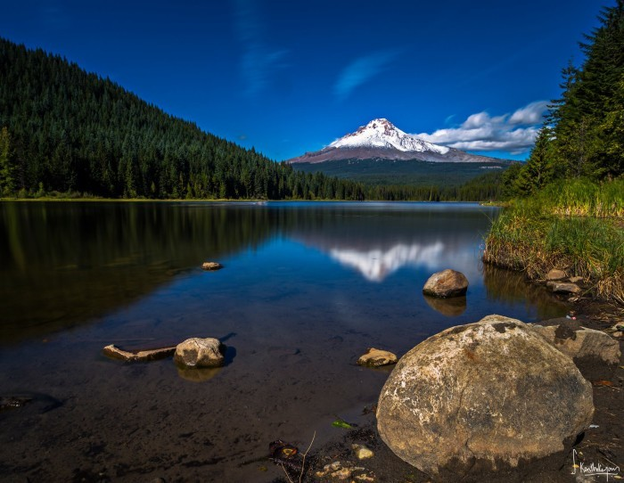 10. Mt. Hood reflected in Trillium Lake, by Karthik Subraman.
