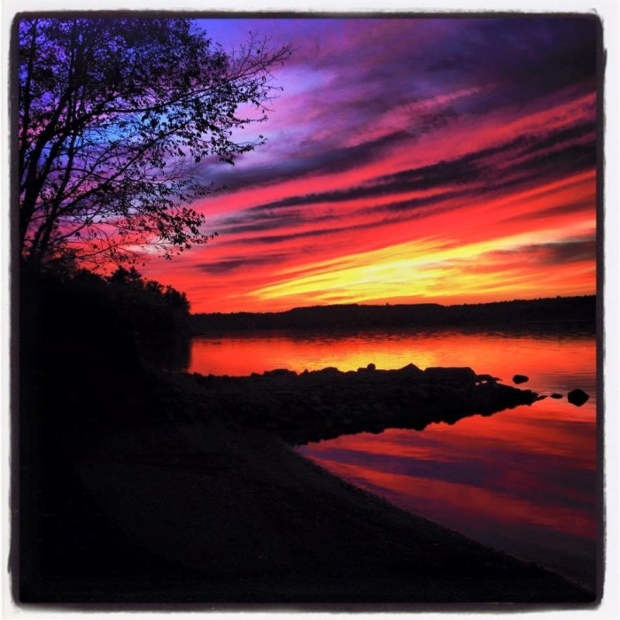 12. The colors of nightfall at Lake Wassookeag in Dexter.