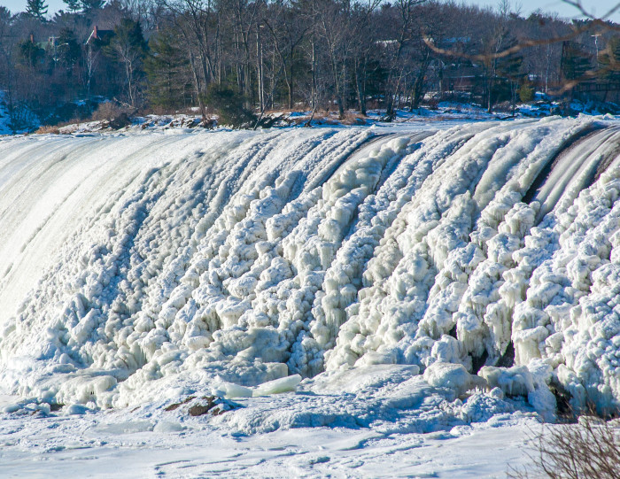 3. In 2014, extremely cold weather caused ice formations to appear on the Brunswick Dam on the Androscoggin River.