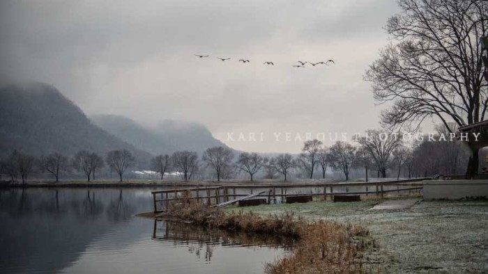 15. East Lake Winona looks stunning in the winter months, especially under cloud-cover.