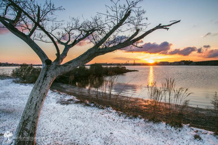 2. A snowy coastal sunrise in New Bern.