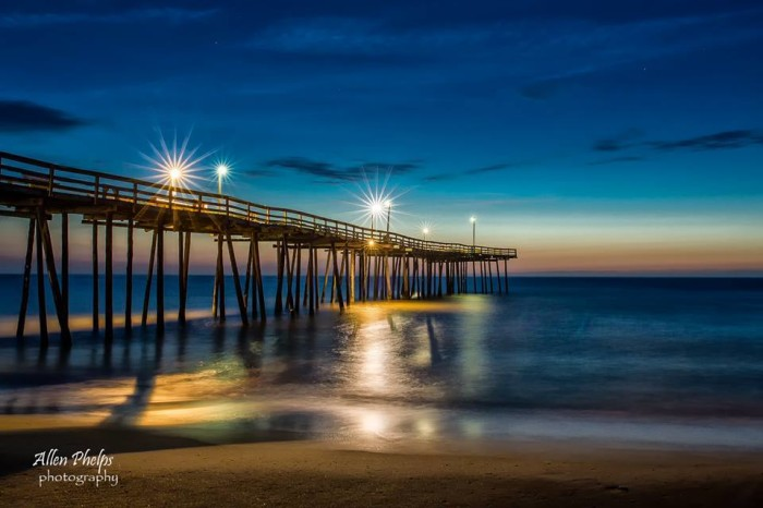 15. Early morning on Nags Head at Outer Banks Pier by Allen Phelps Photography.