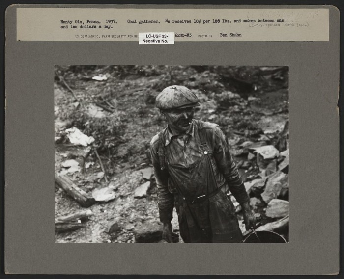 12. Coal gatherers earned ten cents for every 100 pounds, and earned between one and two dollars a day.