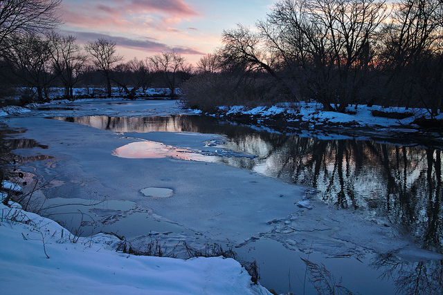 11. Darby Creek in Folcroft is spotted with ice underneath a beautiful winter sunset.