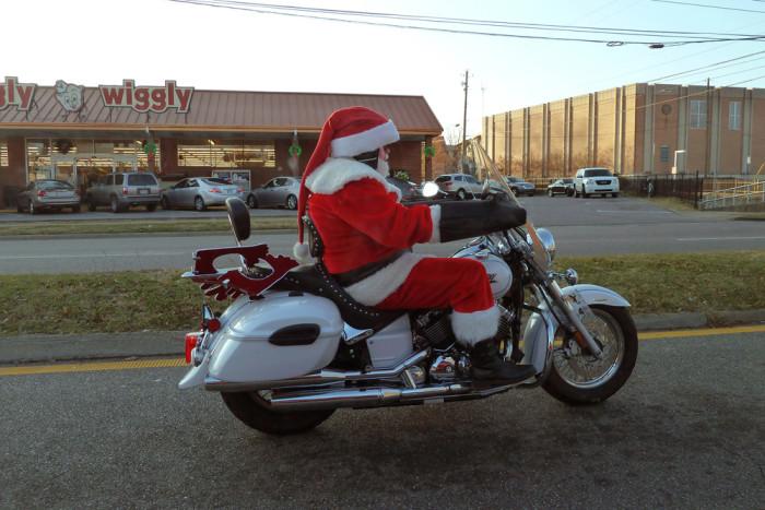 13. Winter brings various Santa sightings, like this one...
