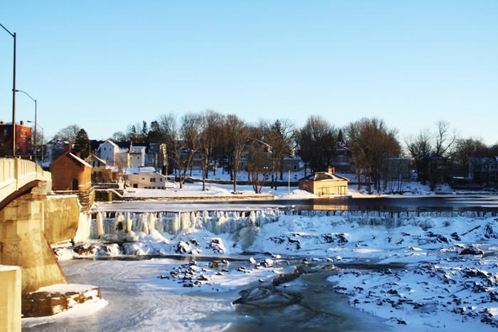 7. Pawtucket Falls & Dam frozen over in Lowell.