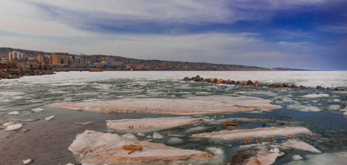 13. Duluth is always beautiful but even more so with some ice. This is a typical end of winter view you can find on a Duluth evening.
