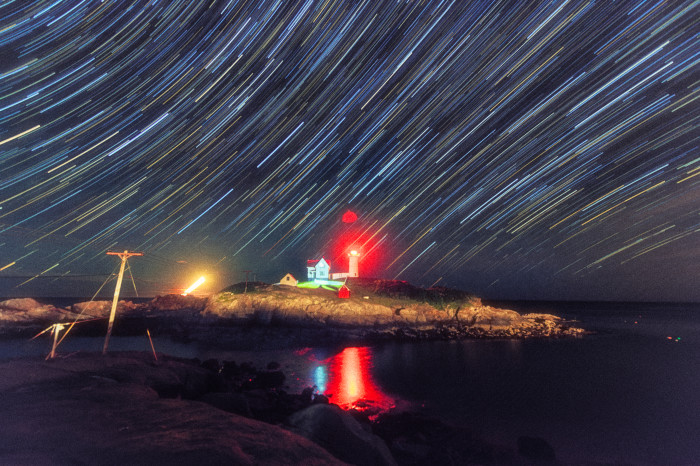 6. We can't get enough of the star trails captured by this photographer's long exposure shots stitched together. This one was snapped over Nubble Light.