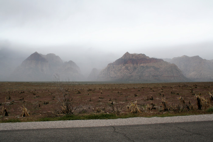 5. A light mist enters Red Rock Canyon.