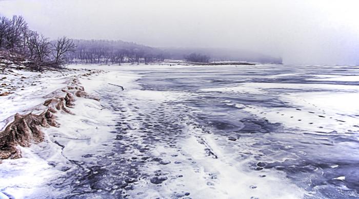 9. Cold, cold, cold Clinton Lake.