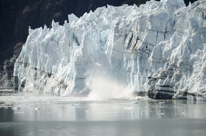 1) Ice falling from Margerie Glacier.