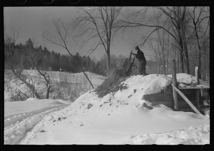 12.  Hired man on Gilbert farm emptying load of manure after cleaning out the dairy barn early on a winter morning. Woodstock, Vermont.