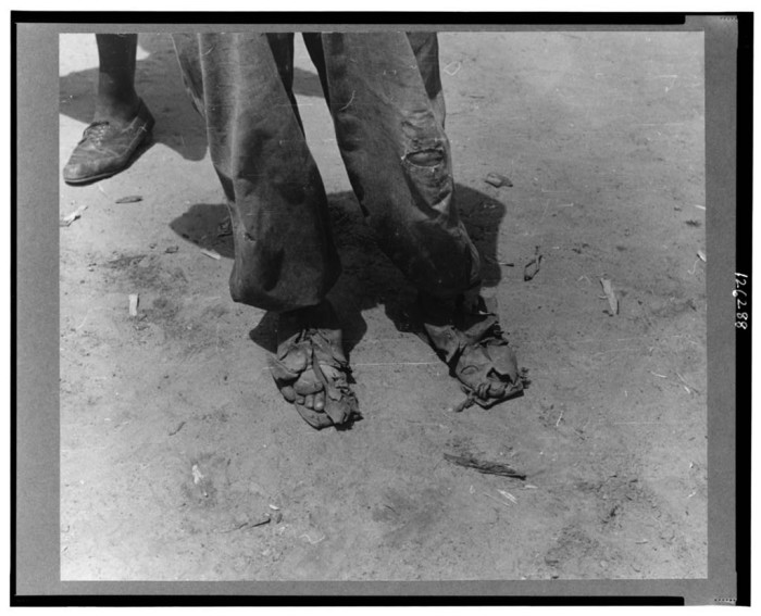 15. During the Great Depression shoes were a luxury to many people, like this tenant sharecropper near Columbia. 1939.