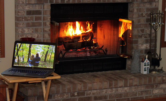 7. Or, curl up by the fireplace with the laptop or a good book.