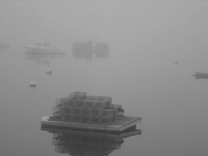 14. Lobster pots shrouded in fog in Boothbay.