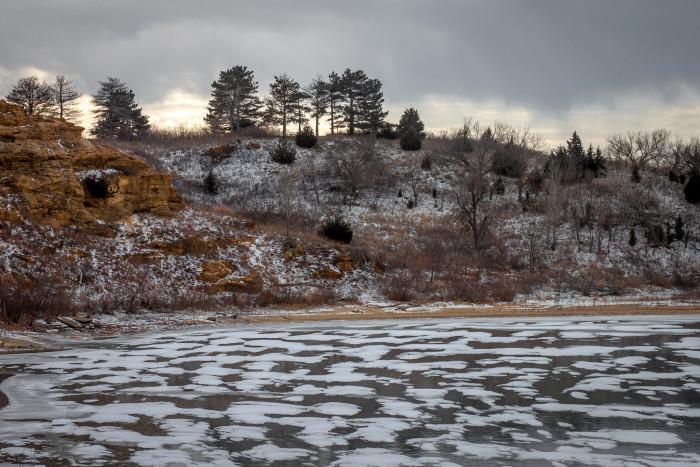 3. Frozen waters and cliffs around Kanopolis Lake.