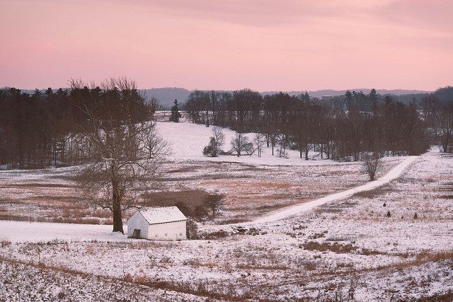 7. The rosy dusk sky reflects off the snowy fields in this whimsical shot of Valley Forge.