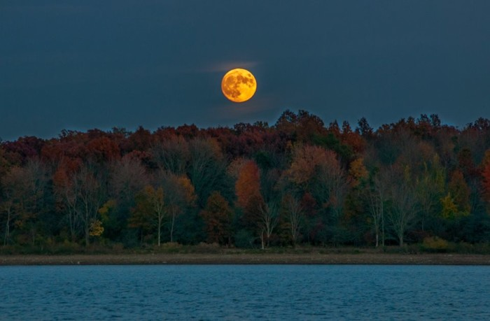 5. Fall moonrise over Hoover Reservoir in Westerville, OH