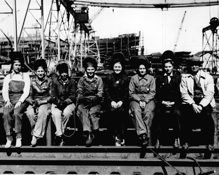 17. Female welders pose for a picture at Pascagoula's Ingalls Shipyard. This wasn't an uncommon sight since, during the war, women played a major role in the state's industrial industry.