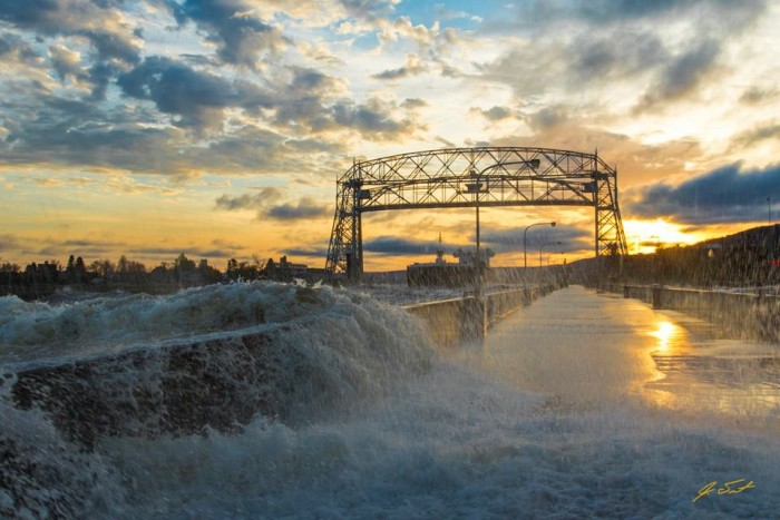 20. On October 20th, Jake Trost  braved the wind and water to bring you this amazing shot of the American Integrity leaving Duluth.