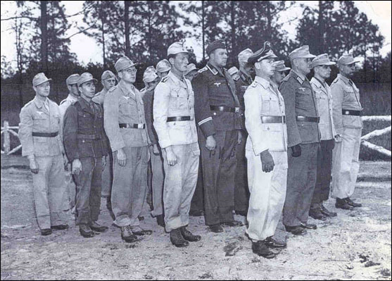 3. A group of German POWs arrive at Camp Shelby. Many prisoners were sent to one of 15 branch camps and assigned jobs such as working in cotton fields or performing duties related to forestry.