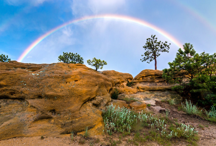 "1. ""Double Rainbow over Colorado Bluffs."""