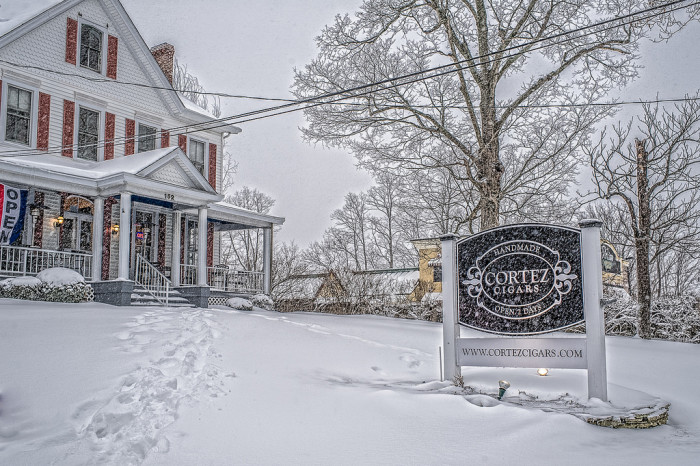 5. Even this Eatontown cigar shop looks lovely in the snow.