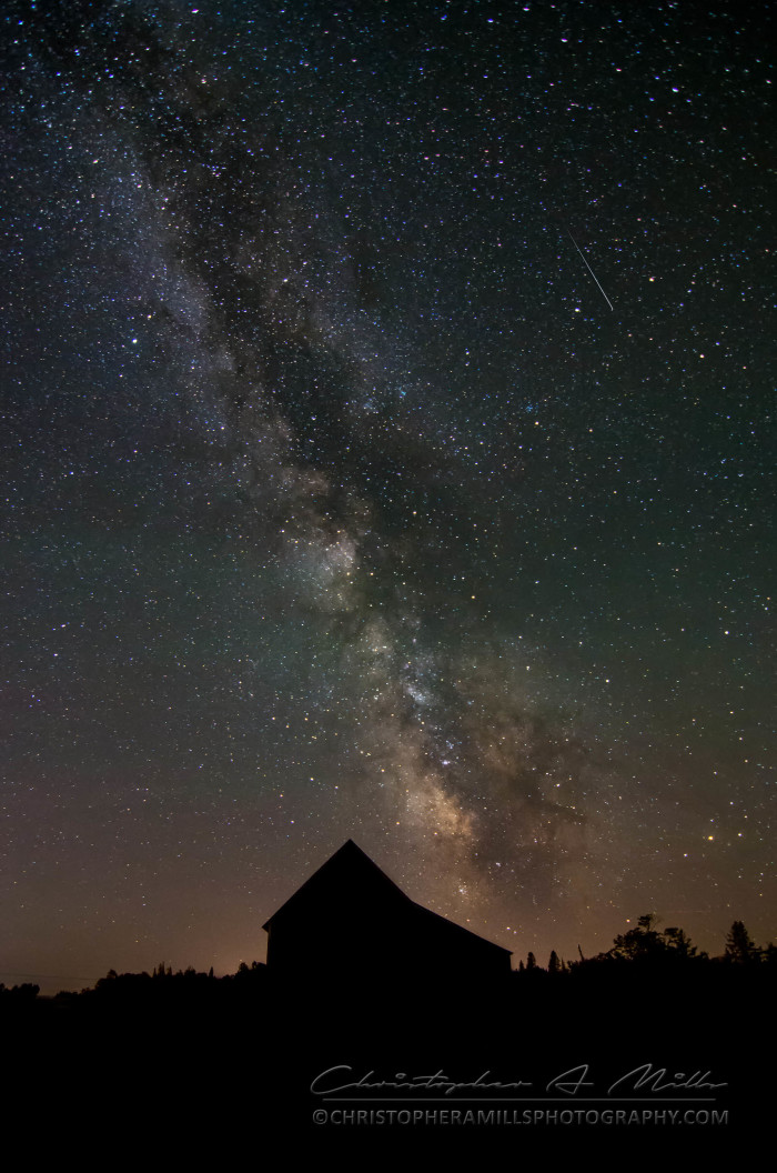 8. The Milky Way captured over a rural Maine barn.