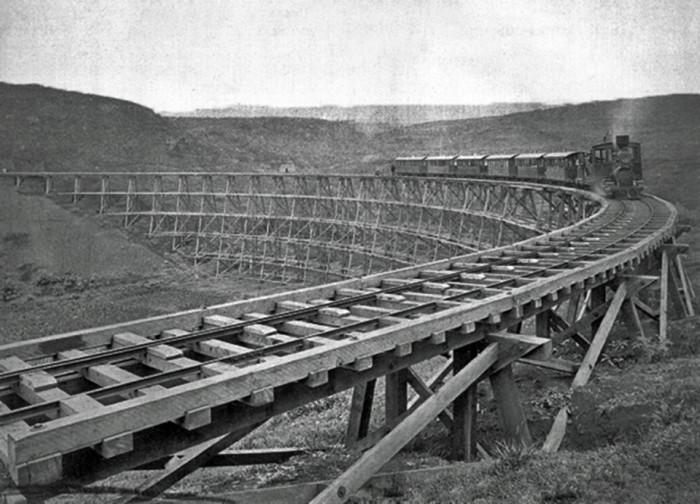 2) The Hawaiian railroad during construction in 1881.