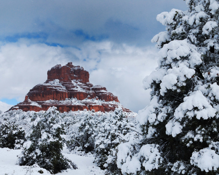 8. Sedona looks pretty with a coat of snow covering the red rocks.