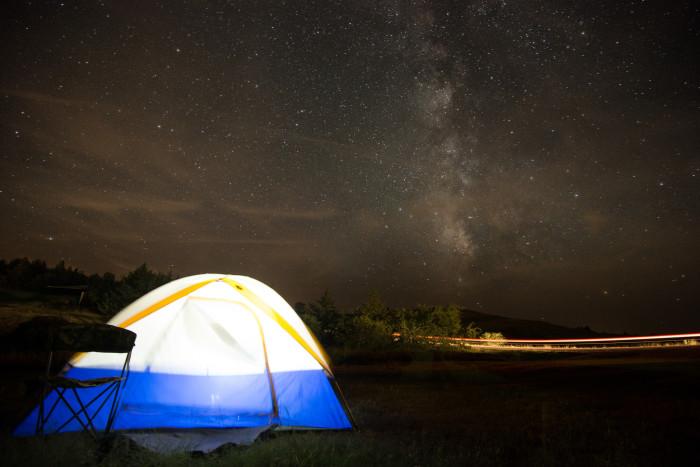 9. Camping under a starry Kansas sky.