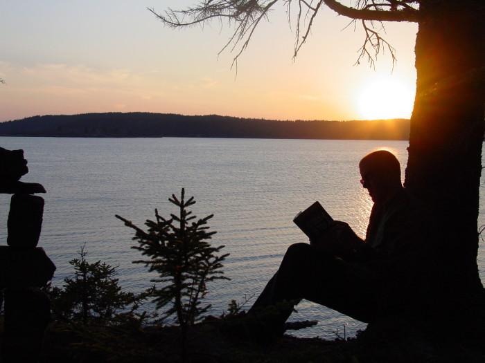 1. A Sunset Read, Rangeley Lake
