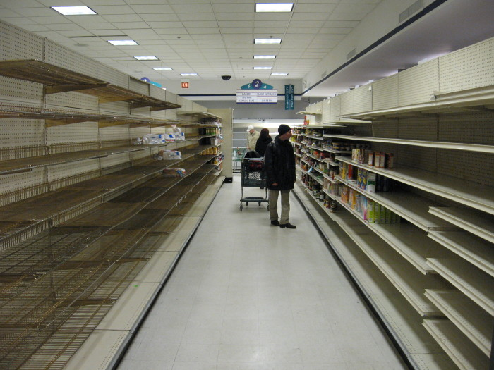 2. Shopping right before a hurricane.