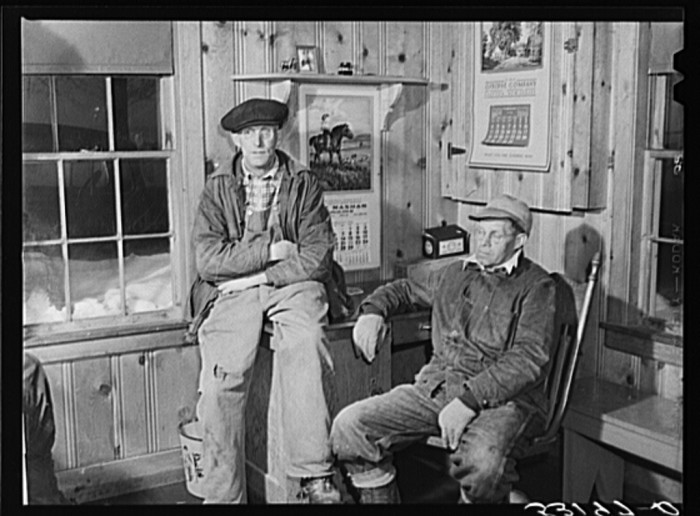 18.  Hired help resting after day's work in Upwey horse farm. South Woodstock, Vermont.