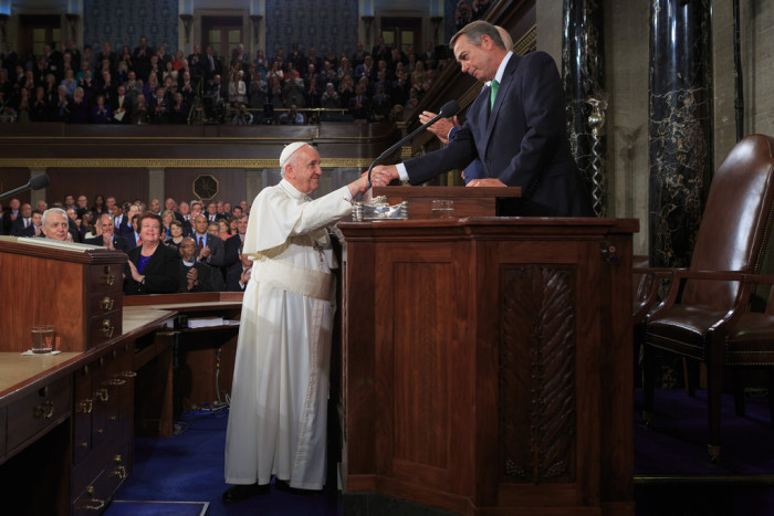 4. A congressman boycotted the Pope's speech to Congress because of their differing views on climate change.