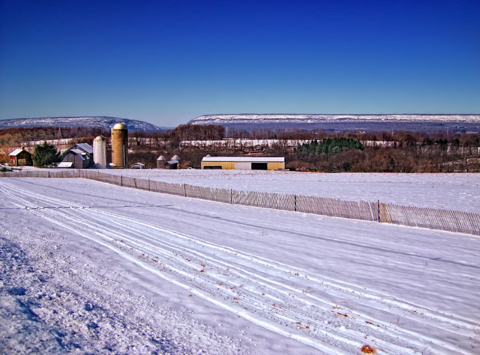 6. Fields of farmland in Knowlton Township covered in snow.