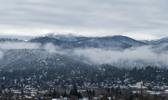 9. A layer of snow atop the lovely city of Ashland.