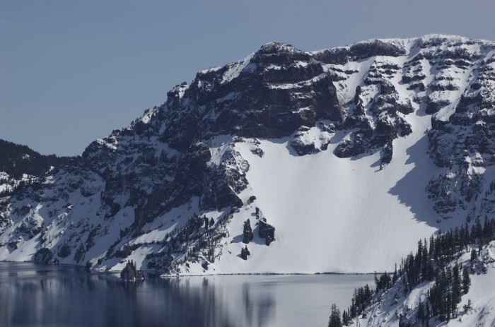 5. Another incredible shot of snow-rimmed Crater Lake.
