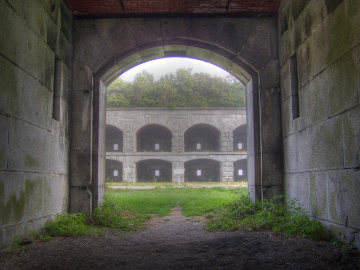 17. The entrance to Fort Gorges on a foggy day in Cumberland.