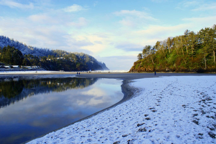 12. Snow on the beach at Neskowin.