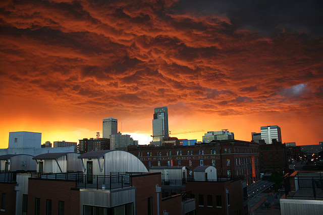 10. A brewing storm in Omaha bathes the city in an angry orange light.