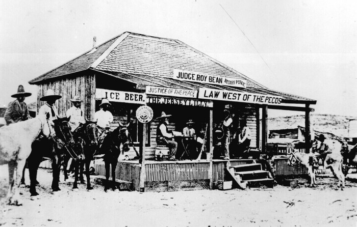 8. That's right, in 1900, saloons doubled as courthouses in Texas. And we held hearings on horseback.