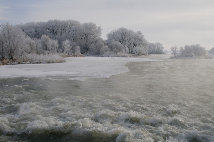 6. The river in Ord is spectacularly frozen in this gorgeous winterscape.