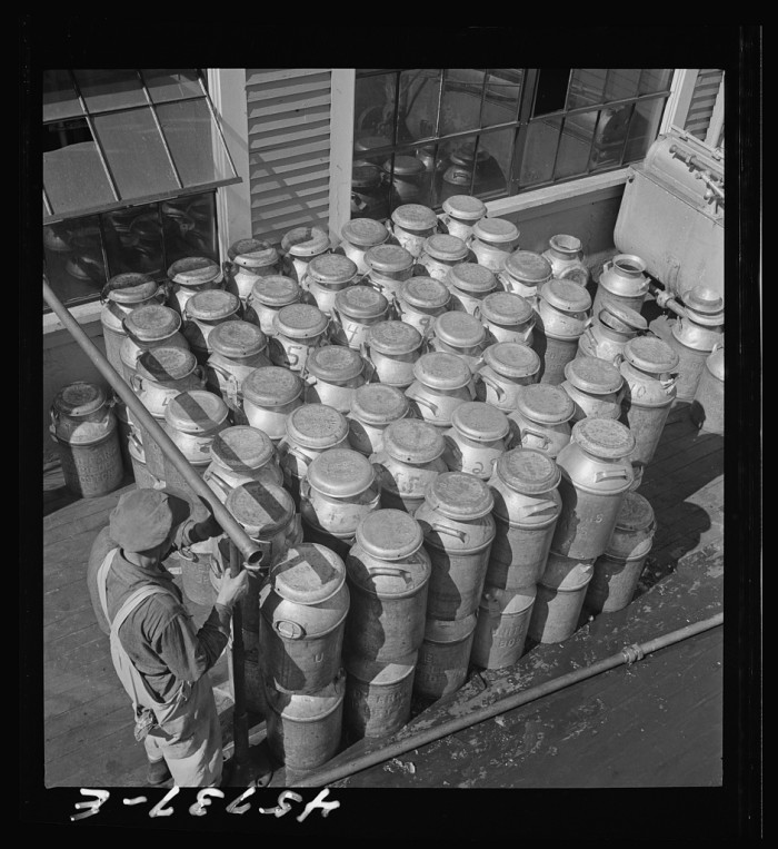 26.  Milk cans at the United Farmers' cooperative creamery.