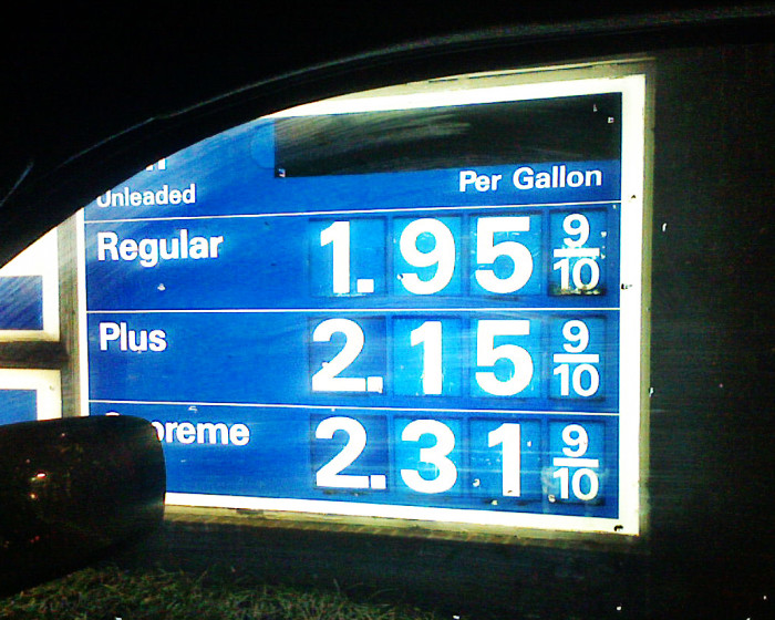 8. Gas prices dropped to under $2.00.