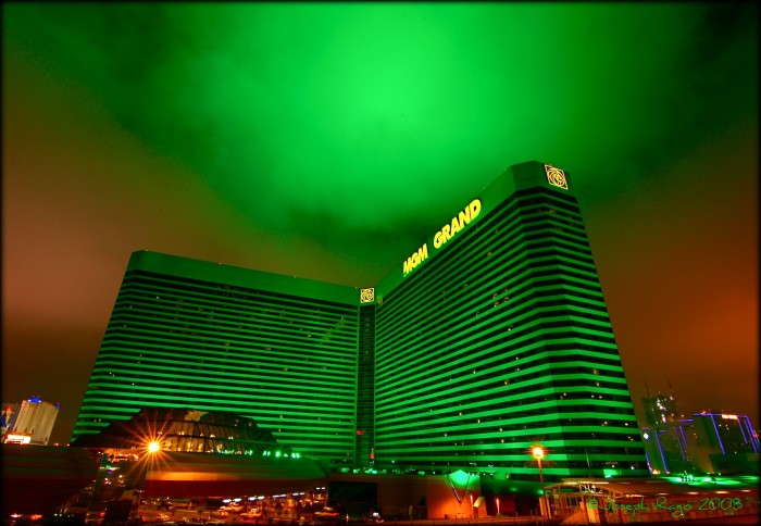 4. MGM Grand's sky-facing lights are giving off a creepy green glow on a foggy night in Las Vegas.