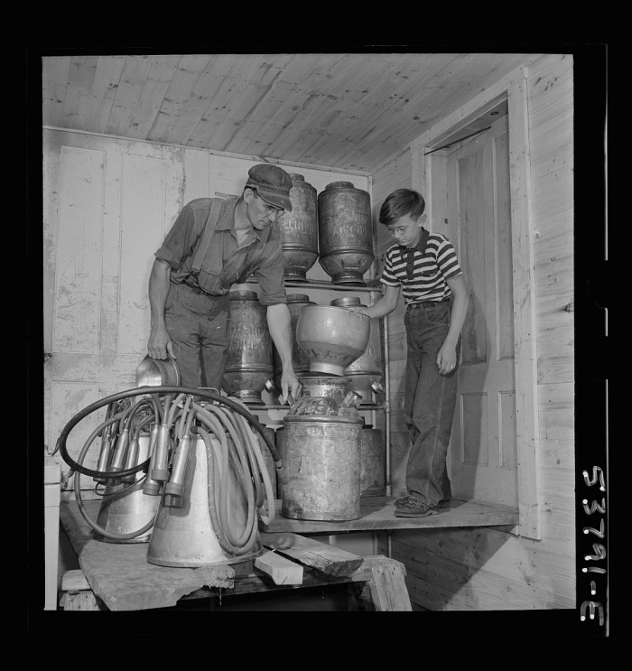 25.  East Montpelier, Vermont. Charles Ormsbee and his son Conrad in the milk house on their farm. Part of the milking is done with automatic electric milkers such as shown in this picture.