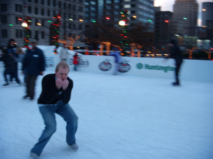 2. Ice skating with no coat (and praying the ice doesn't melt.)