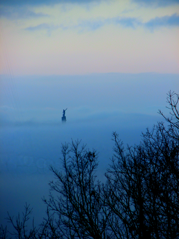 10. Vulcan is taking a walk in the clouds on a foggy morning in Birmingham.